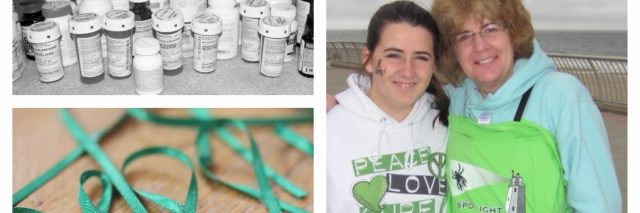 collage of pictures including a woman raising awareness for lyme disease and her medications