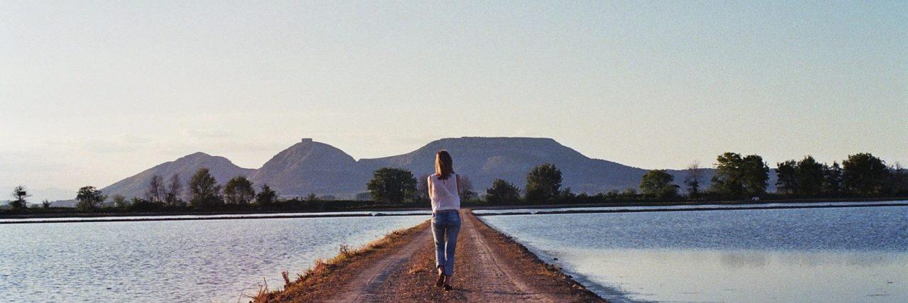 woman on single path