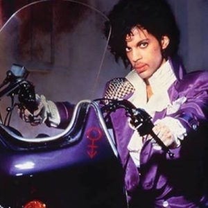 singer Prince on a motorcycle