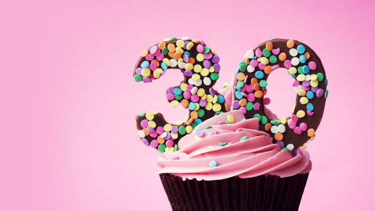 cupcake with number '30' on it