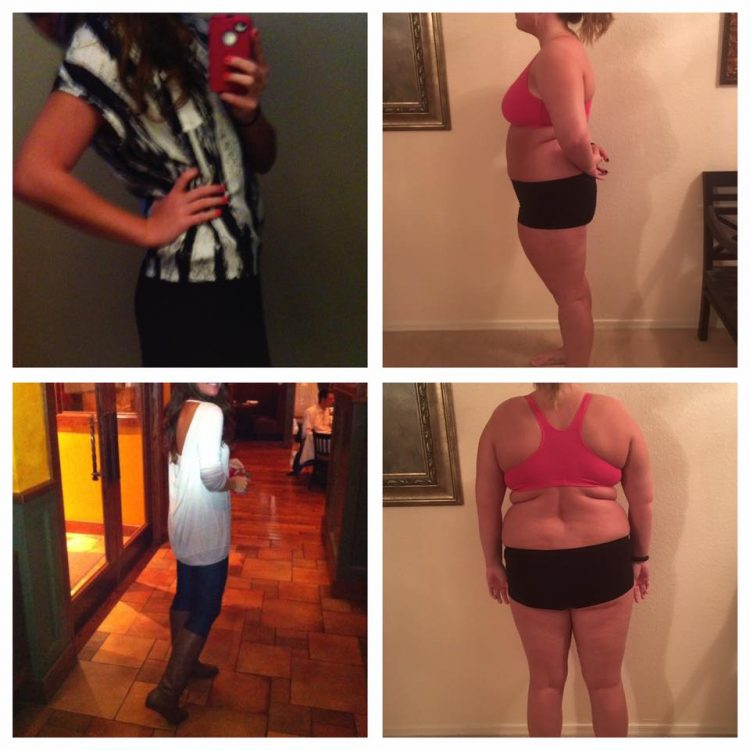 before and after photos of a woman who gained weight due to medication