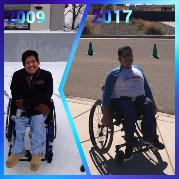 side by side photos of a man in a wheelchair in 2009 and 2017
