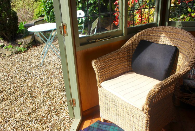 outdoor chair in backyard with back pillow