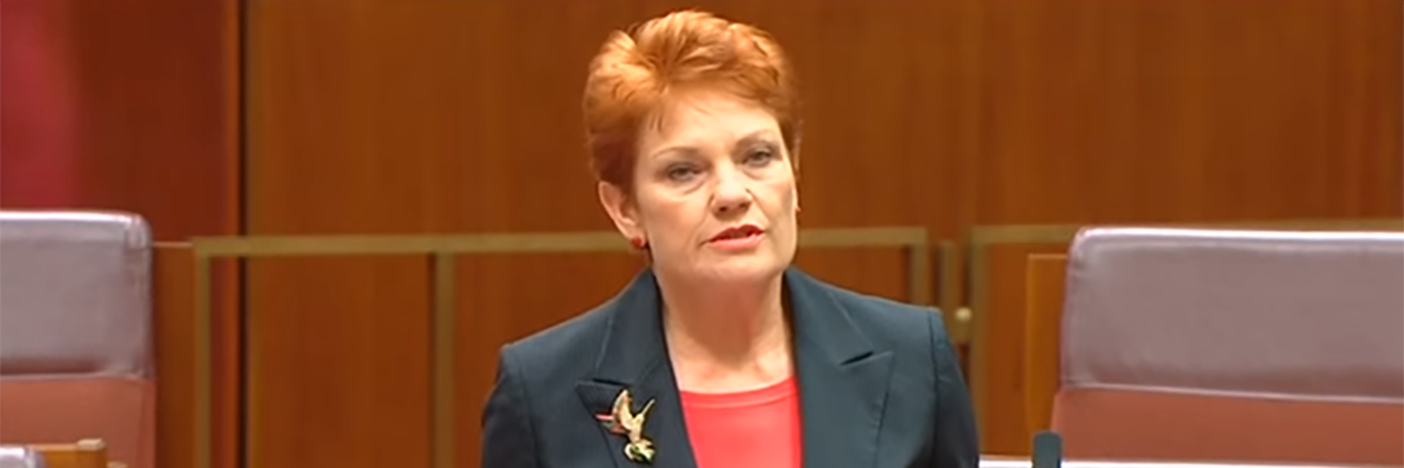 Pauline Hanson speaking to Parliament.