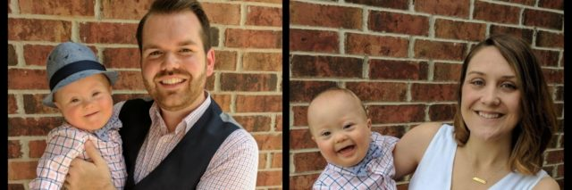 Picture collage of two photos. On the left Adam Morris holding his son, on the right, Ada's wife holding their son.