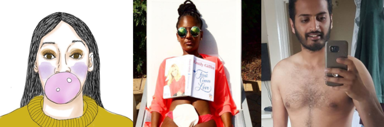 "Illustration of a woman chewing gum in a yellow sweater that says ""highly sensitive,"" photo of a woman in a bathing suit reading a book, the woman has an ostomy bag, and photo of a man in his underwear taking a selfie."