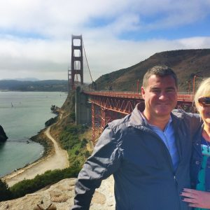 joy aldrich and husband at golden gate bridge