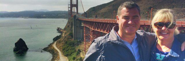 joy aldrich and husband at golden gate bridge
