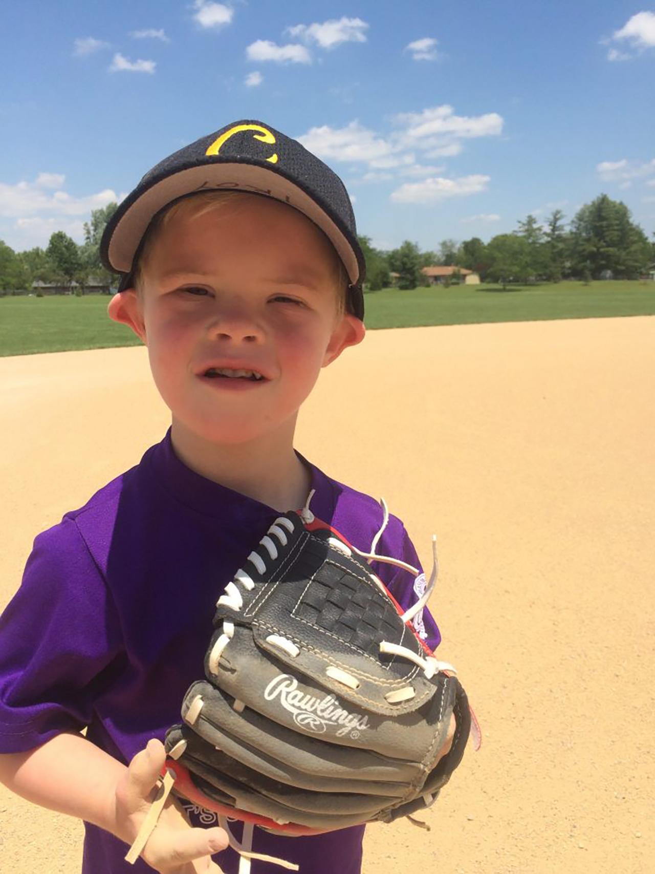 Troy on the ballfield.