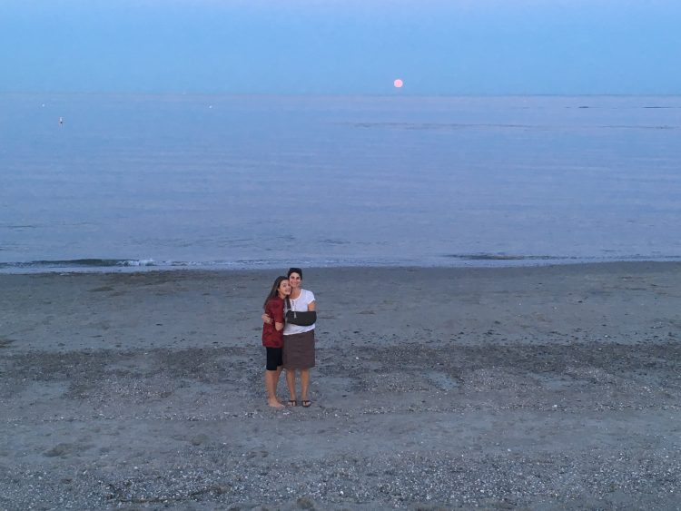 My sling, in full-view, during the moon rise at the beach.