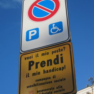 Disability parking sign in Italy.