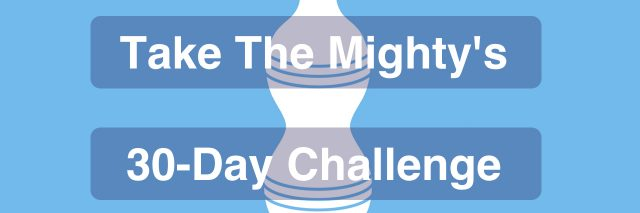 "Plastic water bottle icon which reads ""take The Mighty's 30-day Challenge."""