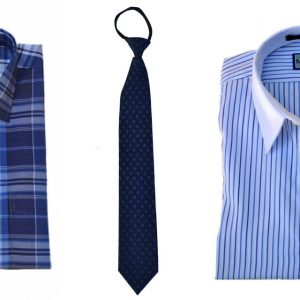 blue men's shirt, tie and blue womens shirt, all infused with magnets