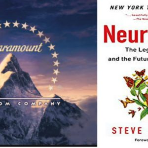 Paramount logo with stars around a mountain next to Neurotribes book cover