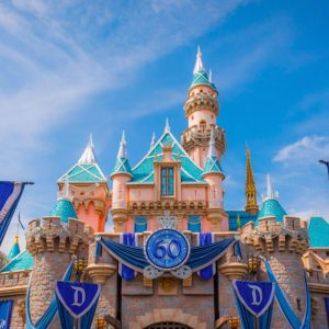 Disneyland castle with blue sky in background