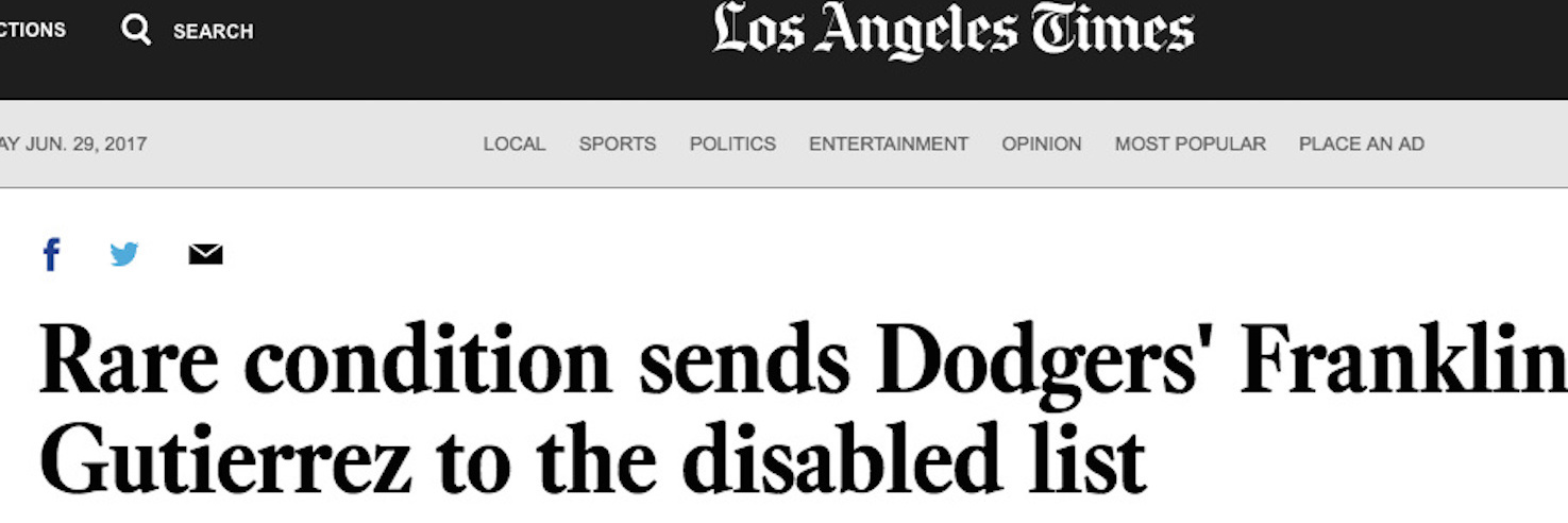 Screenshot of LA Times article with the headline [Rare condition sends Dodgers' Franklin Gutierrez to the disabled list]