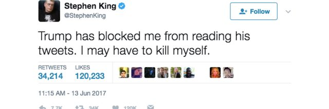 Image of tweet from Stephen King