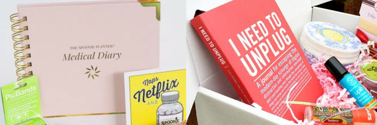Promotional images of two subscription boxes for people living with chronic illnesses