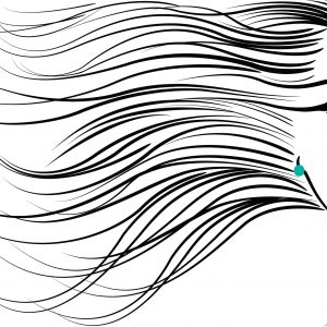 Art piece of a woman with her hair blowing in the wind.