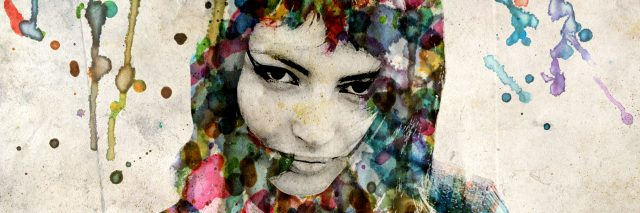 The grange watercolor portrait of a beautiful girl