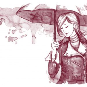 watercolor painting of a woman holding an umbrella