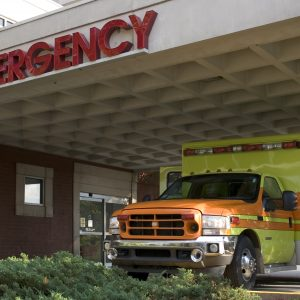 emergency room entrance with an ambulance
