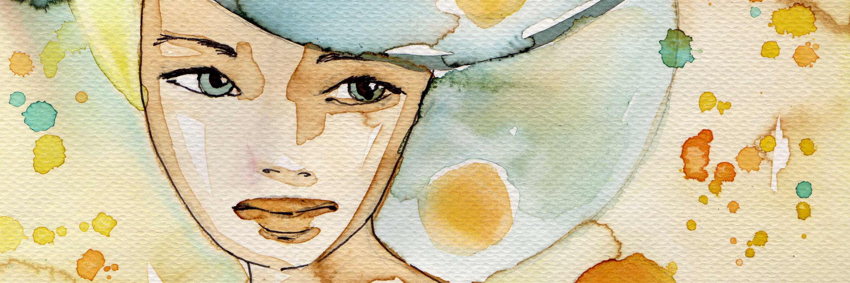 blue and gold watercolor painting of a woman