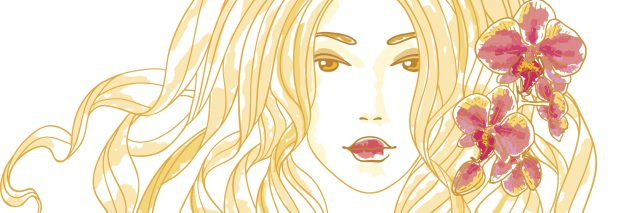illustration of woman with long blonde hair with two flowers in it
