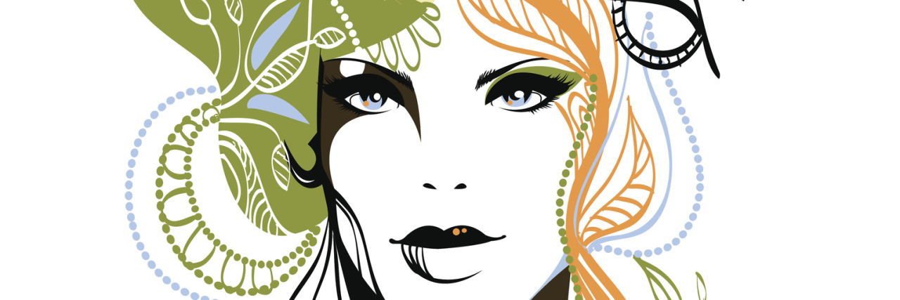 Contemporary fashion illustration of a female face with a combination of colour and lines