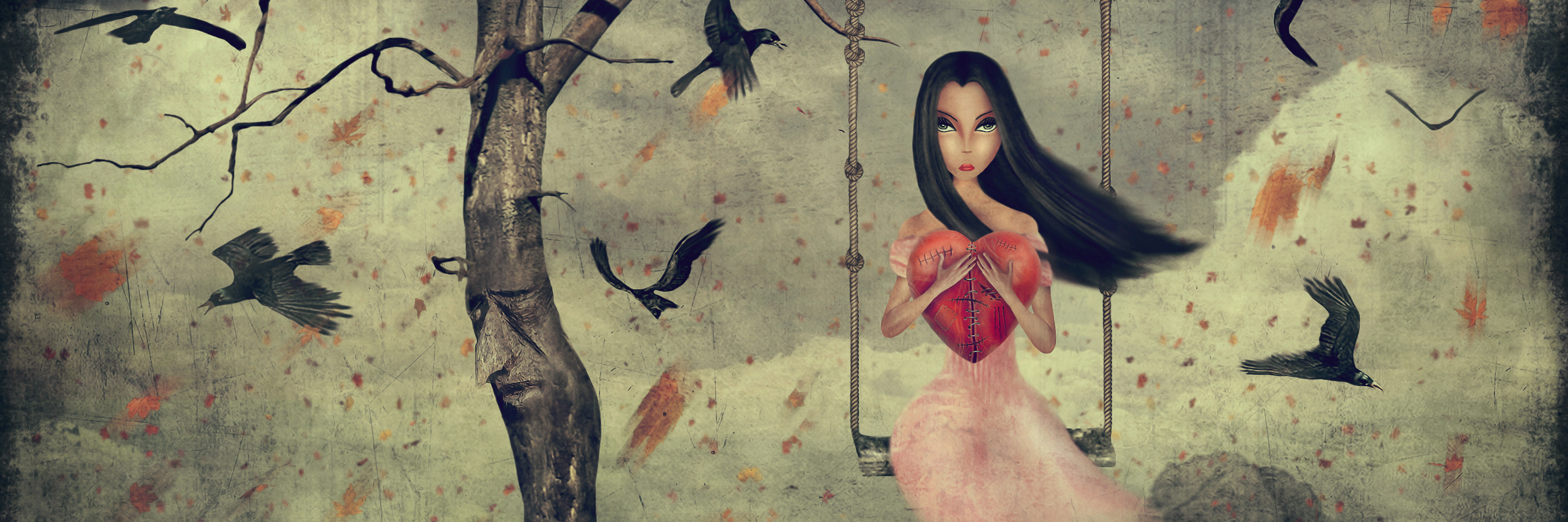 An art piece of a sad girl sitting on a swing, hanging from an empty tree.