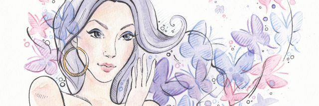 purple and pink watercolor of woman surrounded by butterflies