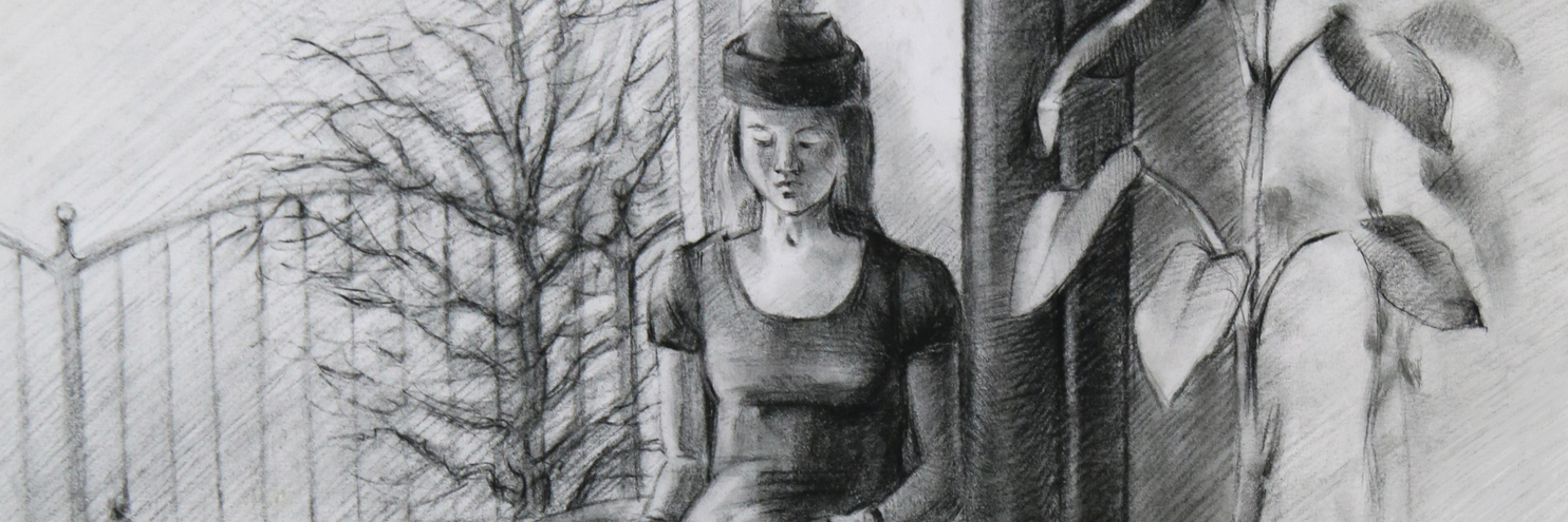 A black and white drawing of a sad young woman near a window.