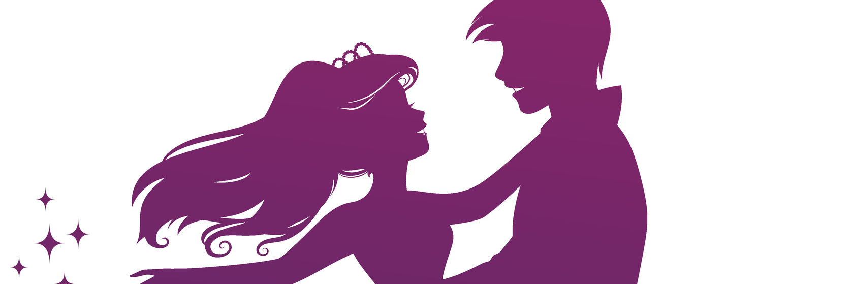silhouette of prince and princess dancing together
