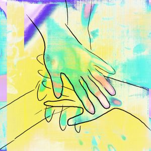 drawing of overlapping hands on colorful background