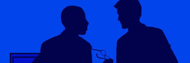 Silhouettes of two male figures talking, with one person holding a pair of glasses