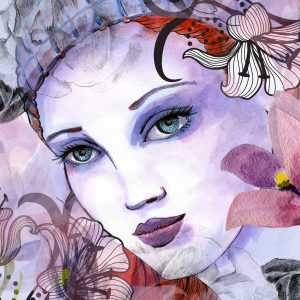 watercolor painting of a woman with flowers around her face