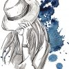 illustration of a woman covering her face with her hat