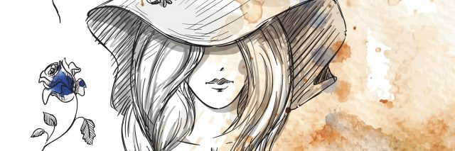 watercolor image of a girl wearing a hat