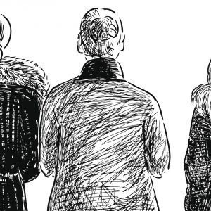 illustration of three women walking together