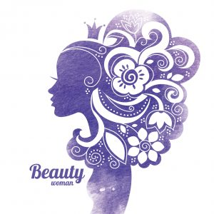 purple illustration of woman with flowers in her hair