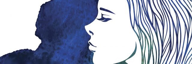 blue watercolor image of a woman
