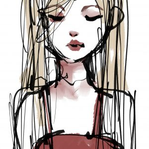 illustration of a girl in a red dress with long hair
