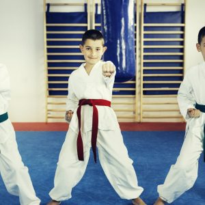Children in Taekwondo.