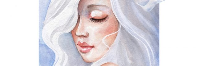 watercolor painting of a woman with white flowers in her hair