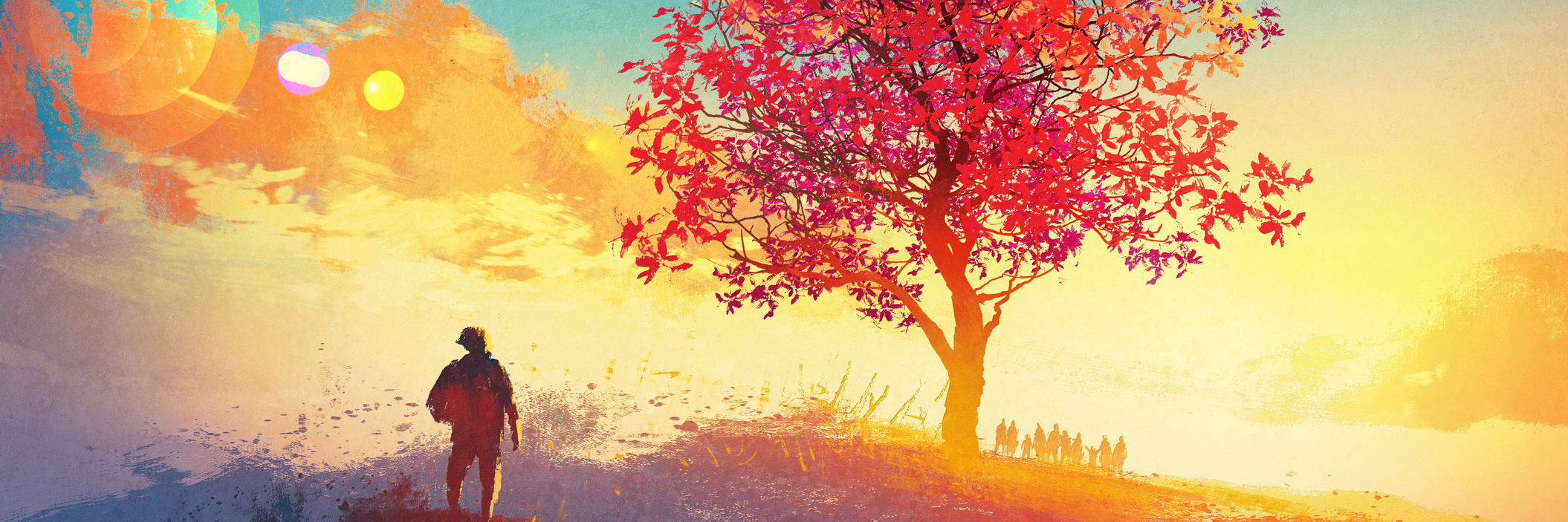 autumn landscape with alone tree on mountain