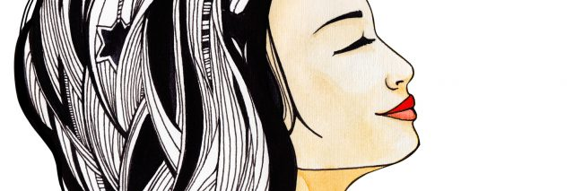 watercolor image of woman with black and white hair