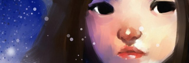 digital painting of cute girl in wintertime outdoor, oil on canvas texture
