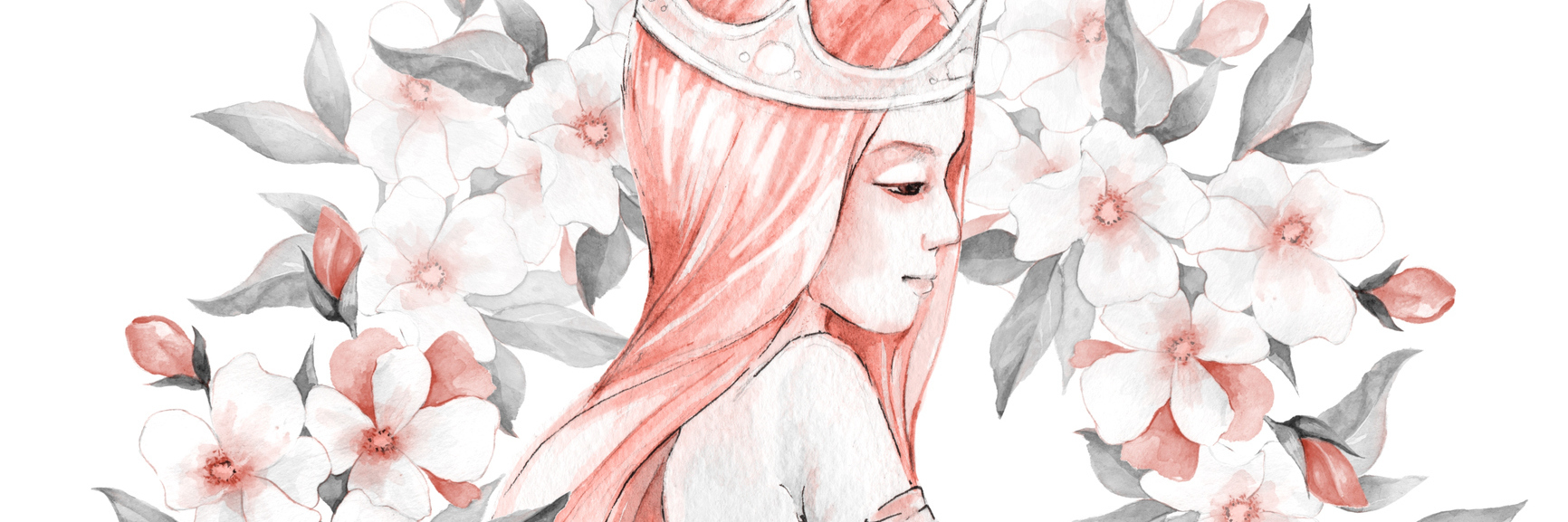 watercolor painting of a woman wearing a crown surrounded by flowers