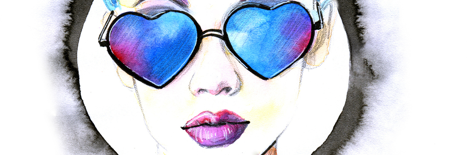 watercolor painting of a woman with blue hair and heart-shaped glasses