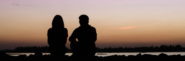 Silhouette of a couple at sunset.